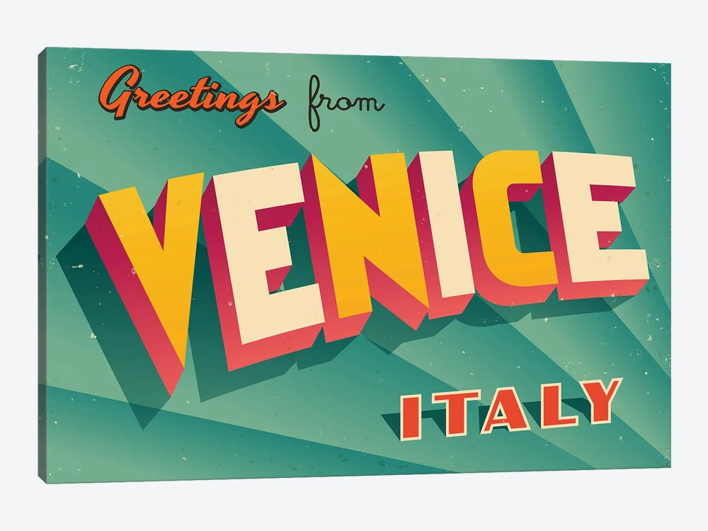 Greetings From Venice by RealCallahan 1-piece Canvas Artwork