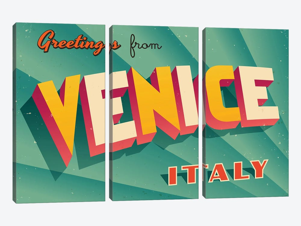 Greetings From Venice by RealCallahan 3-piece Canvas Art