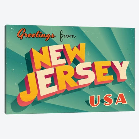 Greetings From New Jersey Canvas Print #DPT227} by RealCallahan Canvas Wall Art