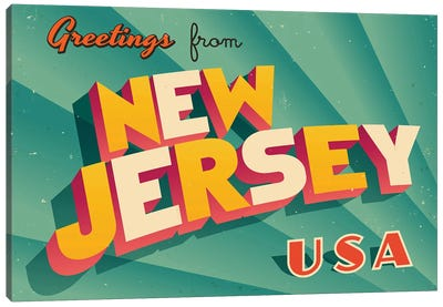 Greetings From New Jersey Canvas Art Print