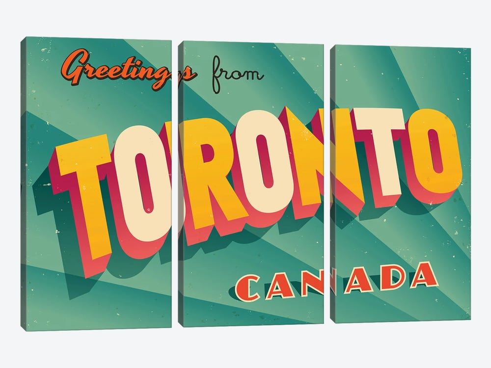 Greetings From Toronto by RealCallahan 3-piece Canvas Art Print