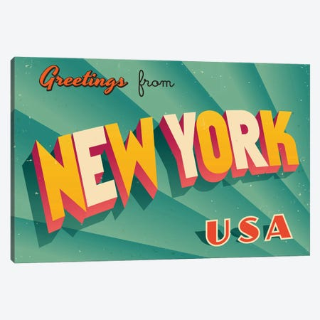 Greetings From New York Canvas Print #DPT230} by RealCallahan Canvas Artwork