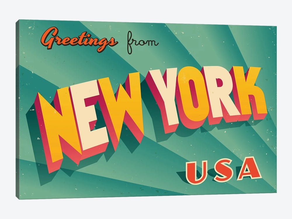 Greetings From New York by RealCallahan 1-piece Canvas Print