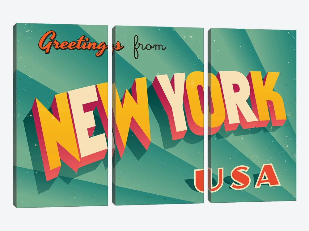 Greetings From New York by RealCallahan 3-piece Canvas Print