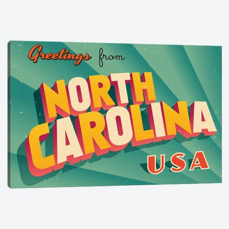 Greetings From North Carolina Canvas Print #DPT231} by RealCallahan Canvas Artwork
