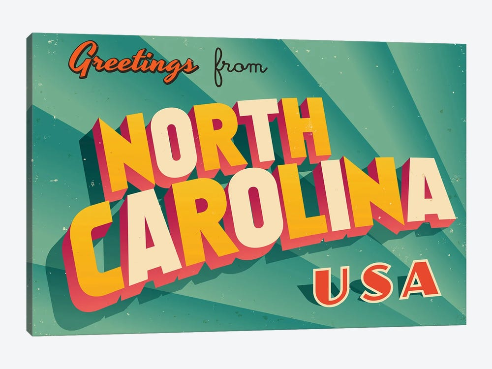Greetings From North Carolina by RealCallahan 1-piece Canvas Artwork