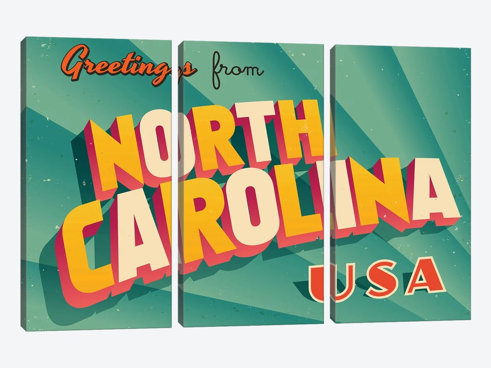 Greetings From North Carolina by RealCallahan 3-piece Canvas Artwork