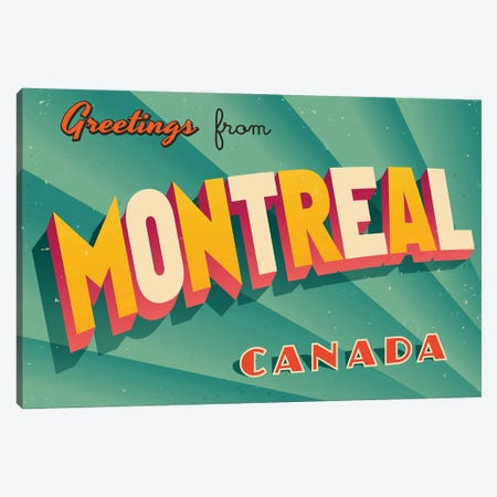 Greetings From Montreal Canvas Print #DPT232} by RealCallahan Canvas Art