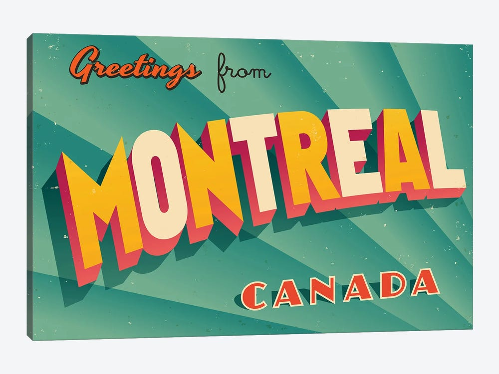 Greetings From Montreal by RealCallahan 1-piece Canvas Art Print