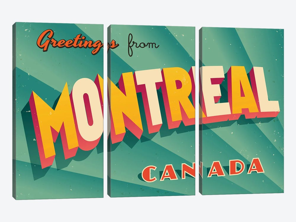 Greetings From Montreal by RealCallahan 3-piece Canvas Print