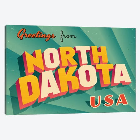 Greetings From North Dakota Canvas Print #DPT233} by RealCallahan Canvas Art