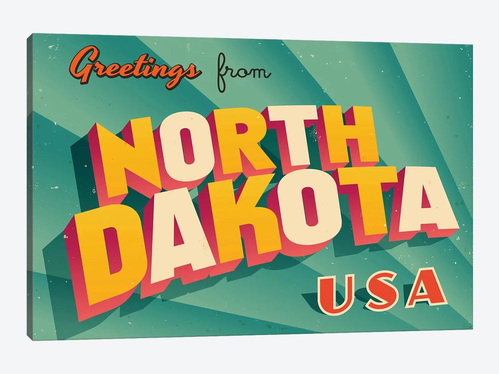 Greetings From North Dakota by RealCallahan 1-piece Canvas Art