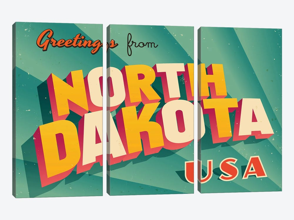 Greetings From North Dakota by RealCallahan 3-piece Canvas Art
