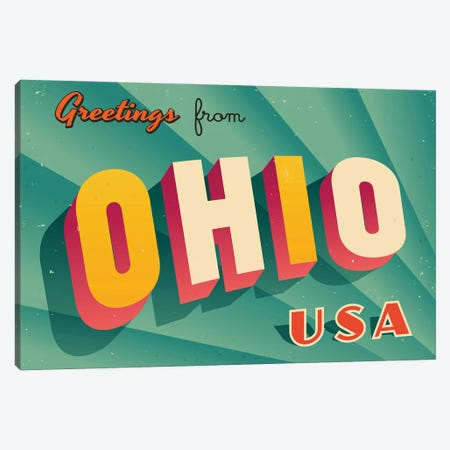 Greetings From Ohio Canvas Print #DPT234} by RealCallahan Canvas Art Print
