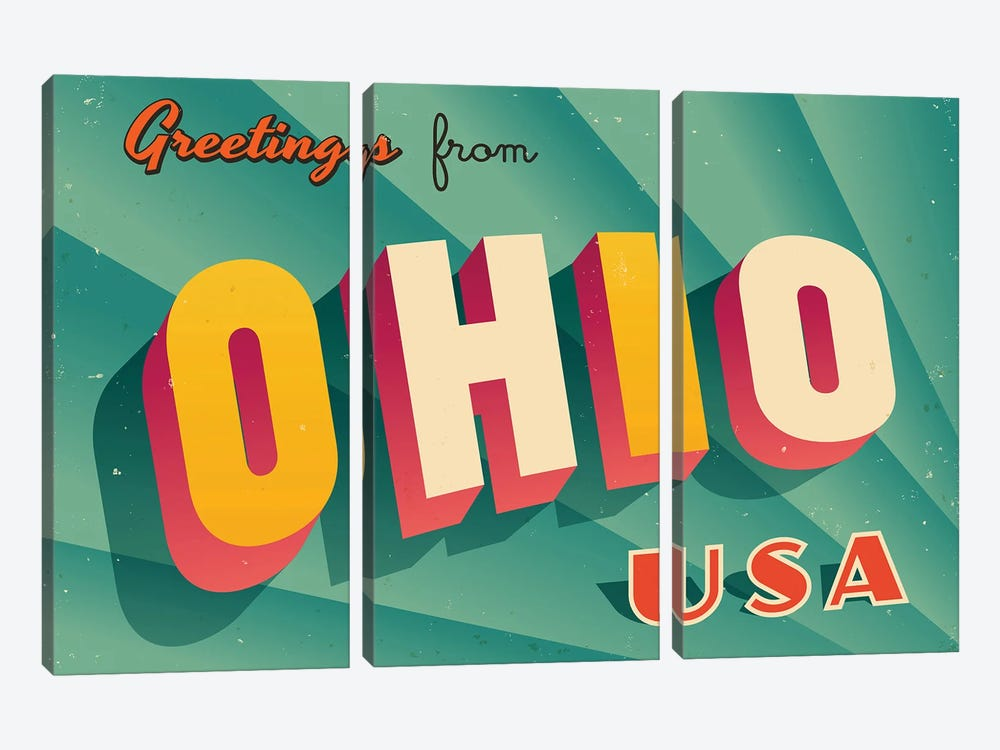 Greetings From Ohio by RealCallahan 3-piece Canvas Art Print