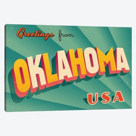Greetings From Oklahoma Canvas Print #DPT235} by RealCallahan Art Print