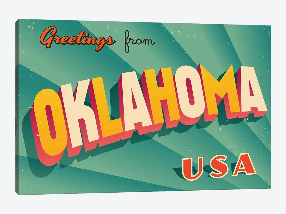 Greetings From Oklahoma by RealCallahan 1-piece Canvas Artwork