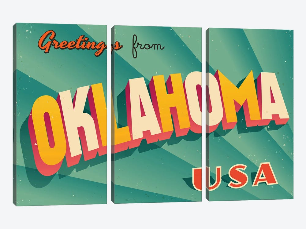 Greetings From Oklahoma by RealCallahan 3-piece Canvas Wall Art