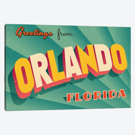 Greetings From Orlando Canvas Print #DPT237} by RealCallahan Canvas Art Print