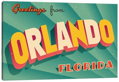 Greetings From Orlando Canvas Art Print