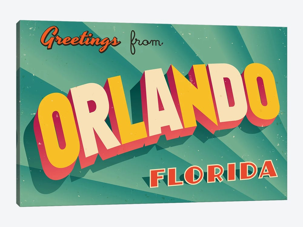 Greetings From Orlando by RealCallahan 1-piece Canvas Artwork