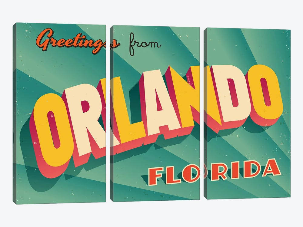 Greetings From Orlando by RealCallahan 3-piece Canvas Artwork