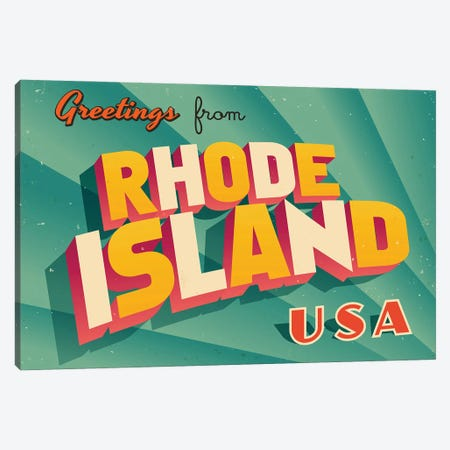 Greetings From Rhode Island Canvas Print #DPT239} by RealCallahan Canvas Art