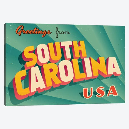 Greetings From South Carolina Canvas Print #DPT240} by RealCallahan Canvas Art Print