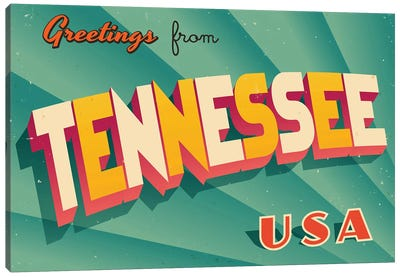 Greetings From Tennessee Canvas Art Print