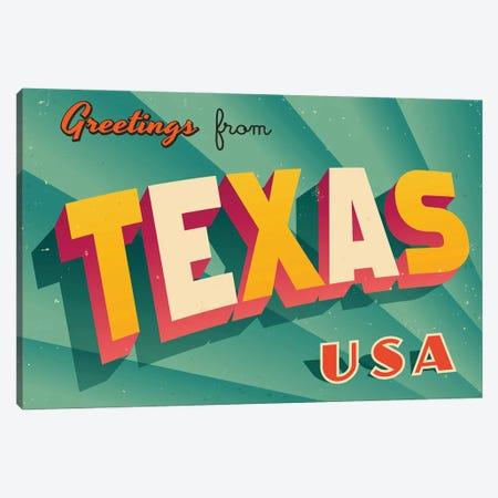 Greetings From Texas Canvas Print #DPT243} by RealCallahan Canvas Art Print