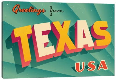 Greetings From Texas Canvas Art Print