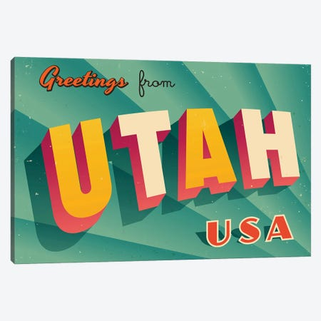 Greetings From Utah Canvas Print #DPT244} by RealCallahan Canvas Art