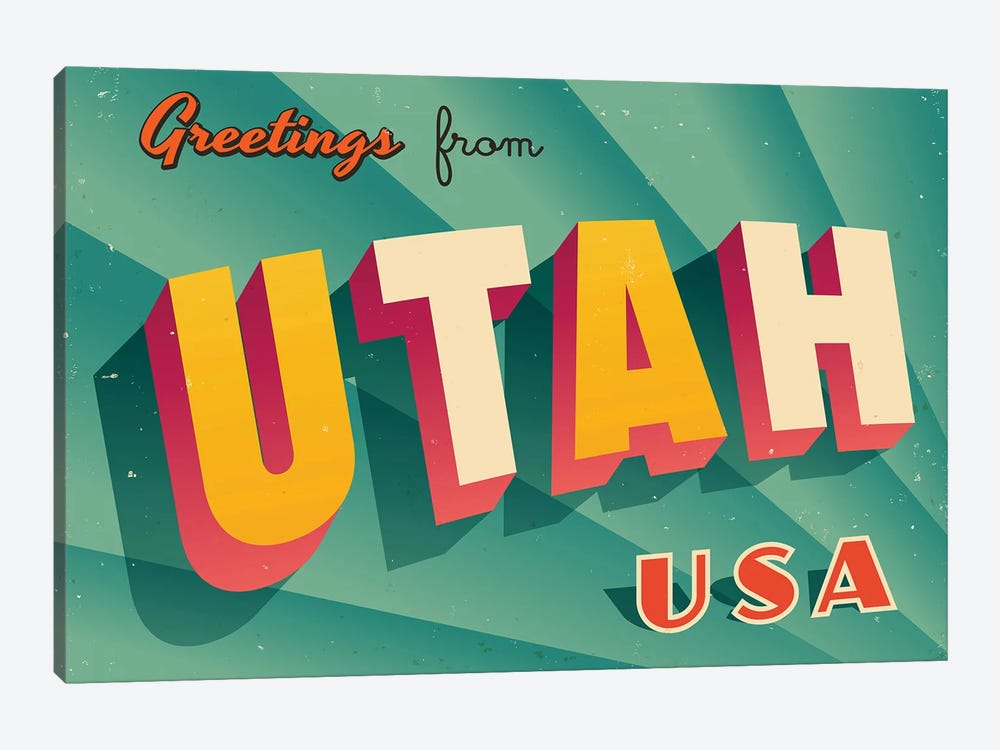 Greetings From Utah by RealCallahan 1-piece Canvas Wall Art