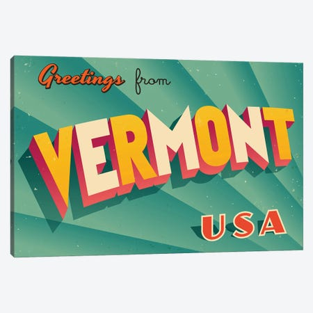 Greetings From Vermont Canvas Print #DPT245} by RealCallahan Canvas Wall Art