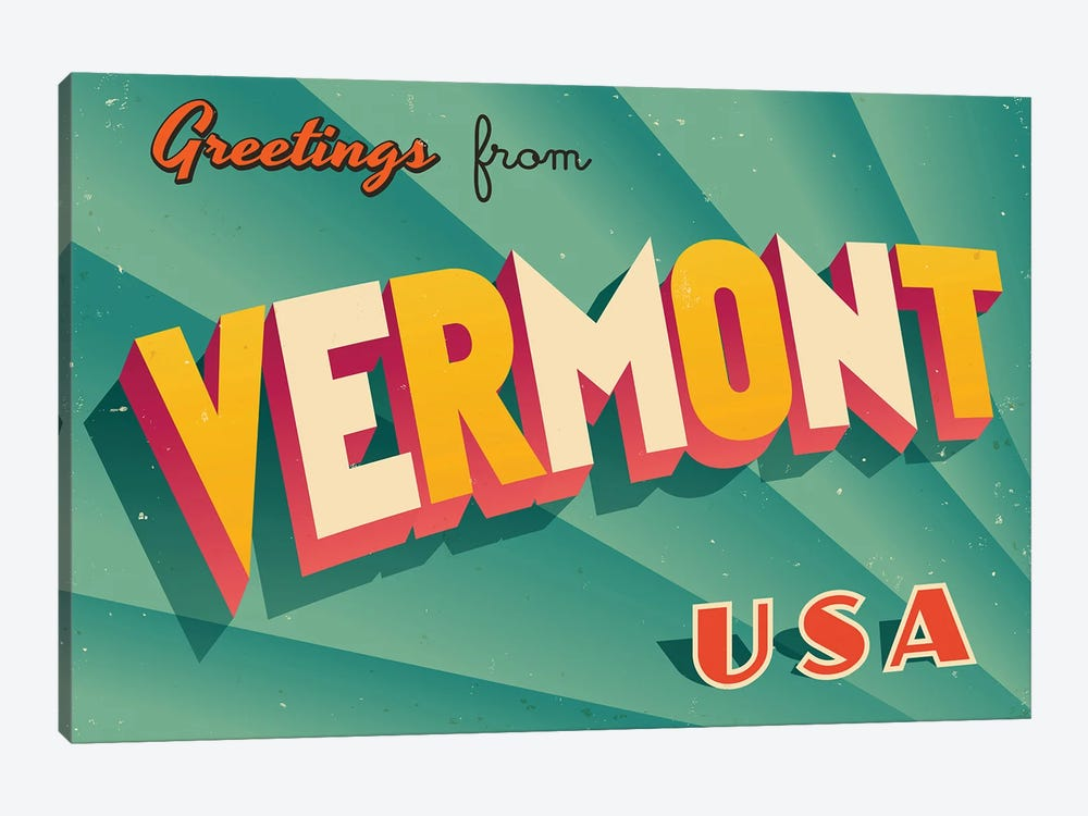 Greetings From Vermont by RealCallahan 1-piece Canvas Art Print