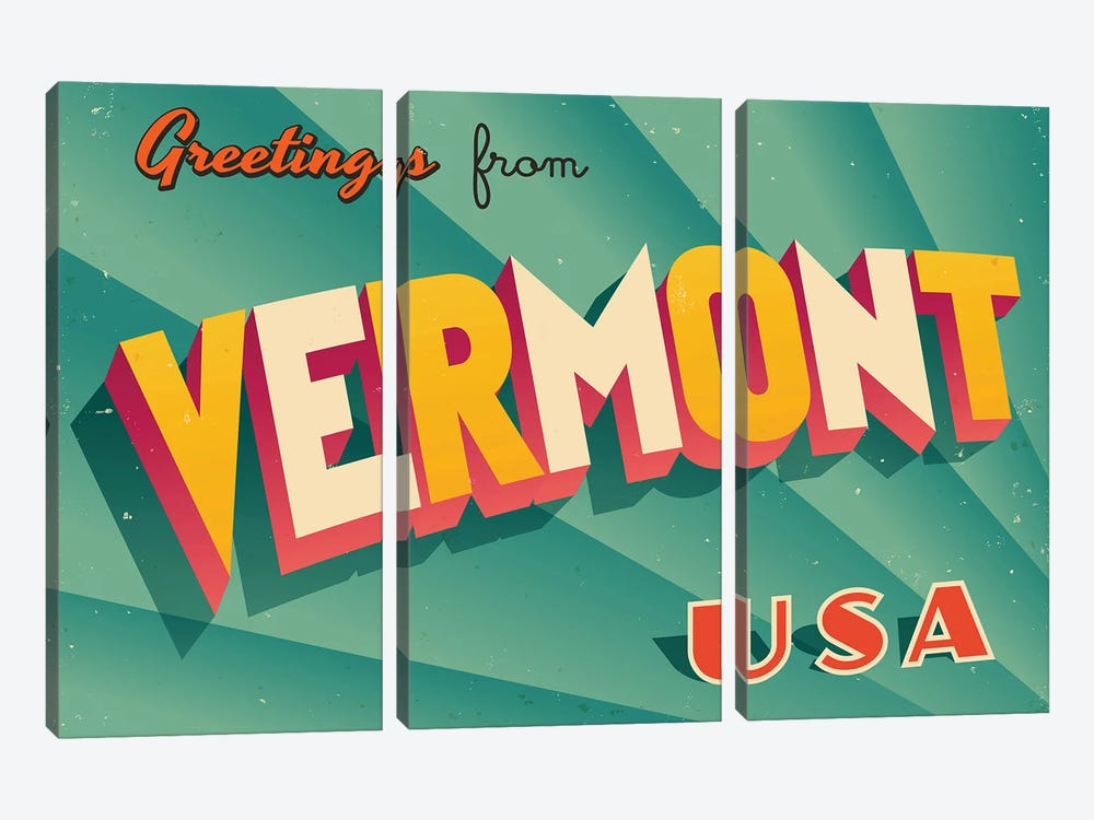 Greetings From Vermont by RealCallahan 3-piece Art Print