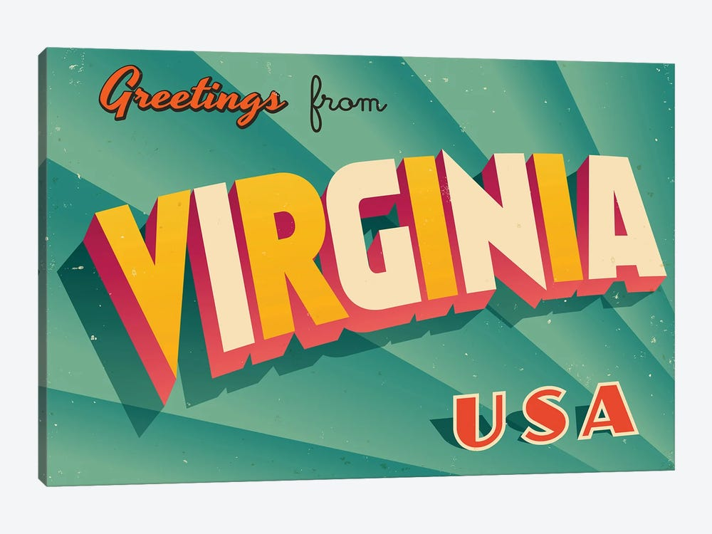 Greetings From Virginia by RealCallahan 1-piece Canvas Wall Art