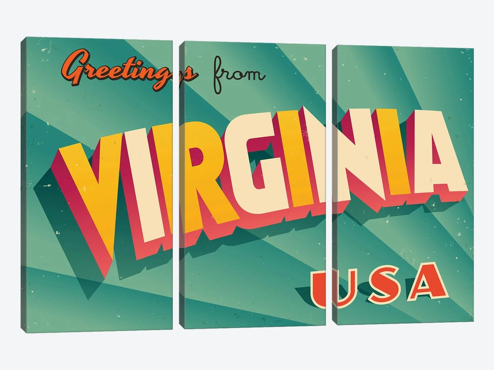 Greetings From Virginia by RealCallahan 3-piece Canvas Art