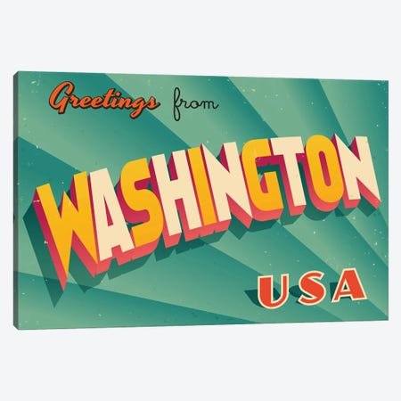 Greetings From Washington Canvas Print #DPT247} by RealCallahan Canvas Wall Art