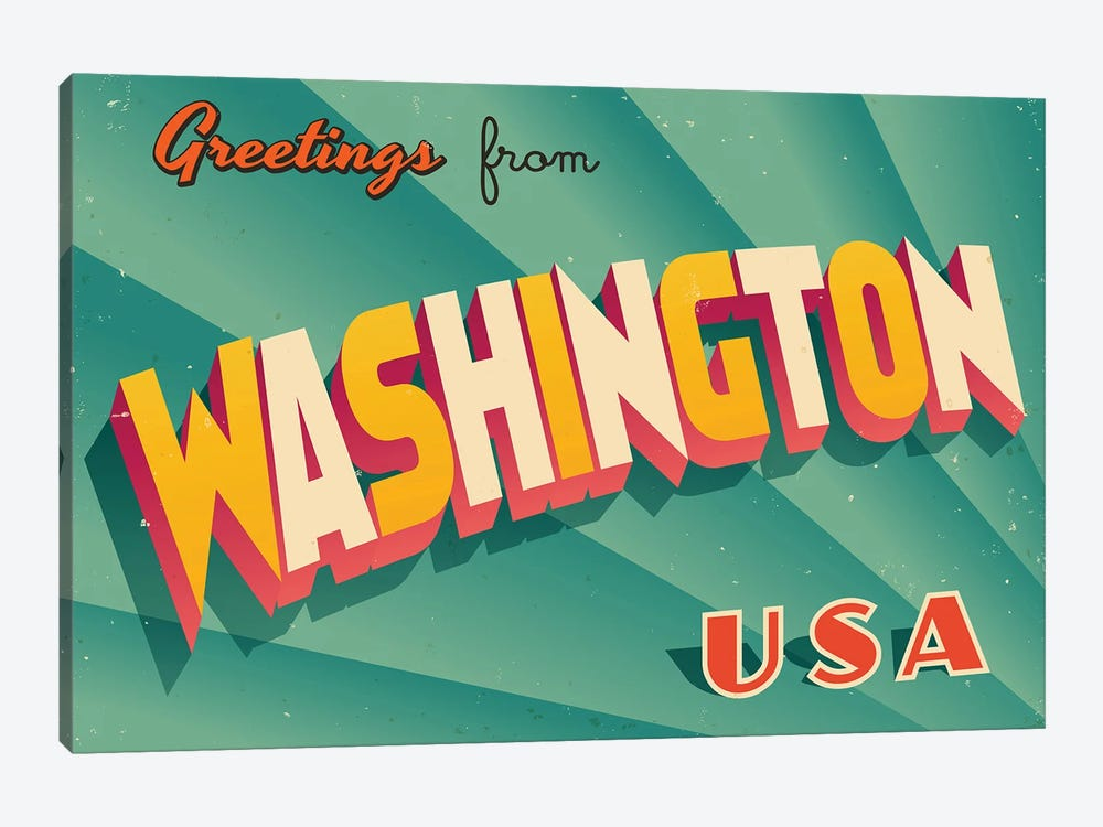 Greetings From Washington by RealCallahan 1-piece Canvas Art Print