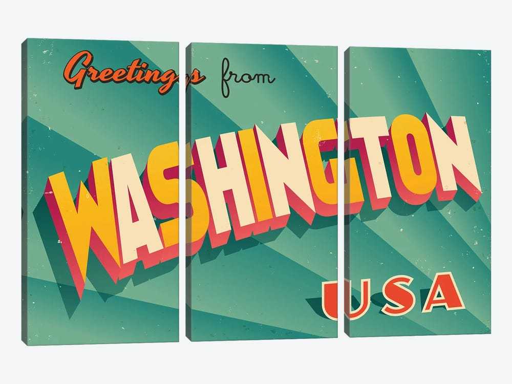 Greetings From Washington by RealCallahan 3-piece Canvas Print