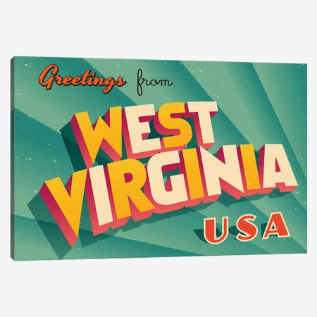Greetings From West Virginia Canvas Print #DPT248} by RealCallahan Art Print