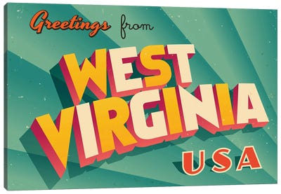 Greetings From West Virginia Canvas Art Print