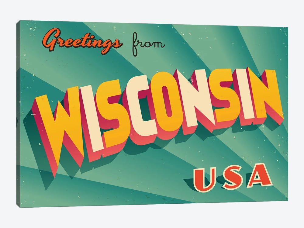 Greetings From Wisconsin by RealCallahan 1-piece Canvas Print