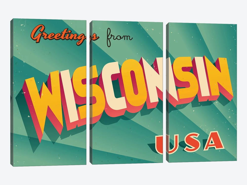 Greetings From Wisconsin by RealCallahan 3-piece Art Print