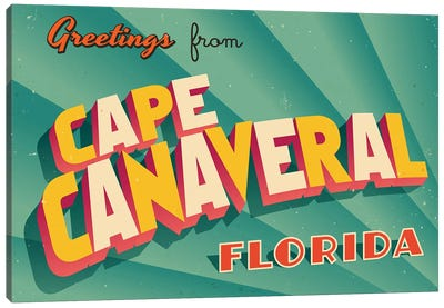 Greetings From Cape Canaveral Canvas Art Print
