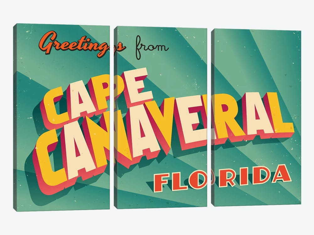 Greetings From Cape Canaveral by RealCallahan 3-piece Art Print