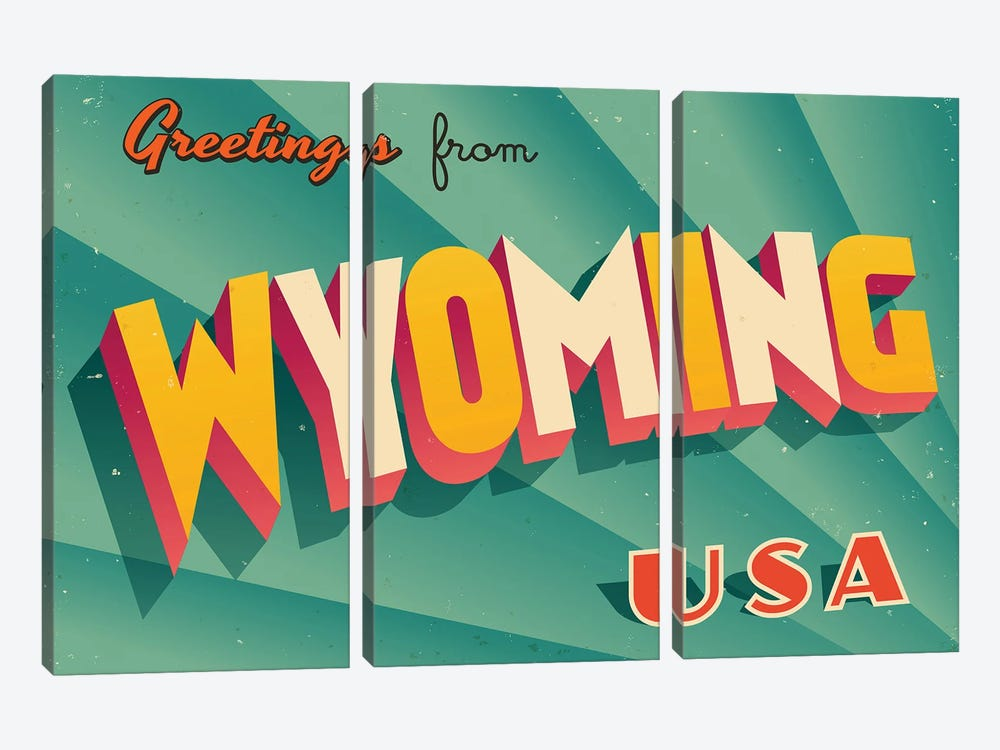 Greetings From Wyoming by RealCallahan 3-piece Canvas Art