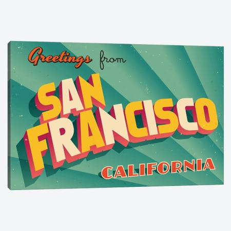 Greetings From San Francisco Canvas Print #DPT252} by RealCallahan Canvas Art