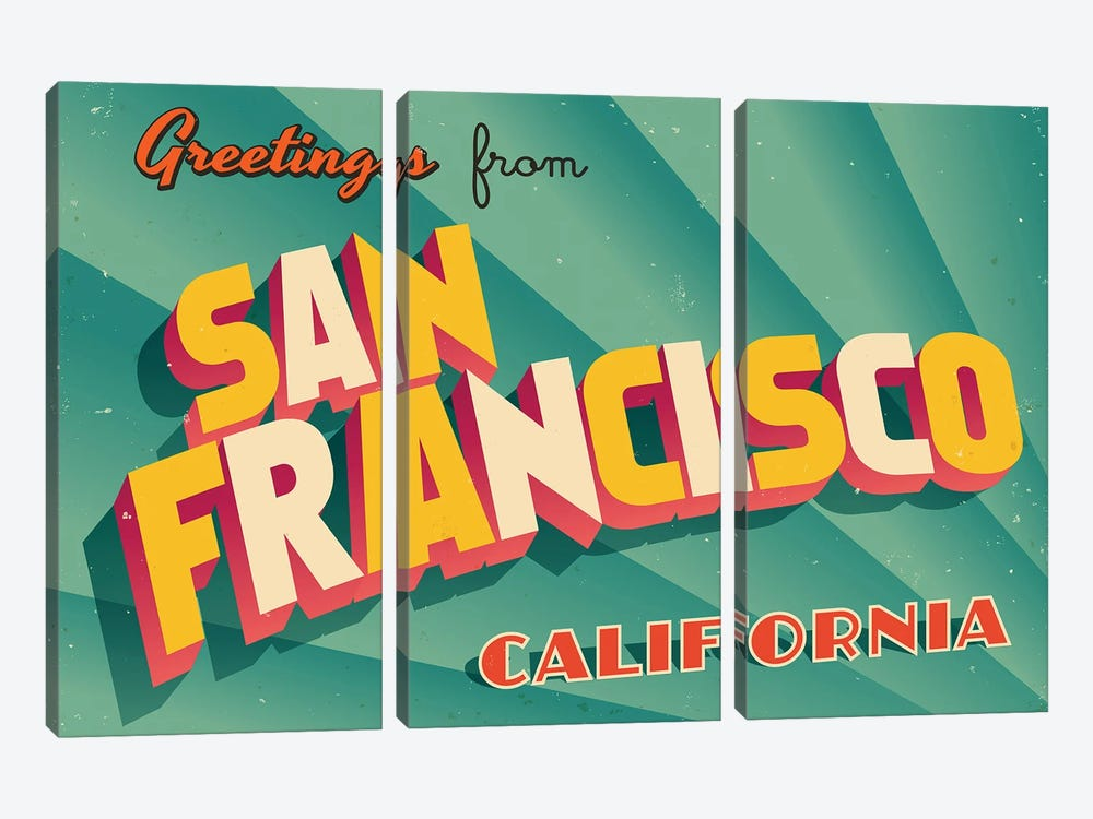 Greetings From San Francisco by RealCallahan 3-piece Canvas Print